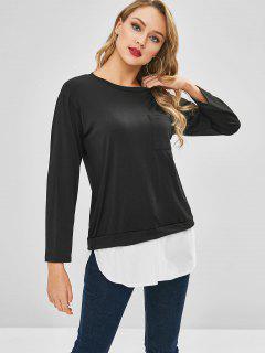 Camiseta De Mangas Largas Con Bajo En Contraste - Negro Xl