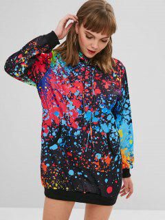 Splatter Paint Pocket Hoodie Dress - Black S