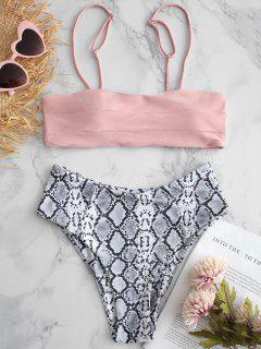 Maillot De Bain Bikini à Imprimé Jambes De Serpent Et à L'échelle Des Jambes - Rose Cochon L