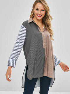 Colorblock - Gestreiftes Boyfriend High Low-Shirt - Multi-a M