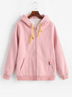 Buttoned Pockets Zip Up Hoodie - Light Pink M