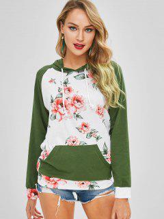 Flower Print Front Pocket Tunic Hoodie - Multi S