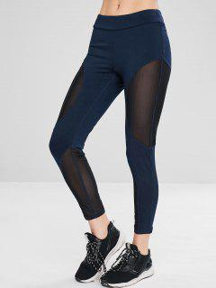 Sport Mesh Panel Sheer Gym Leggings - Midnight Blue L