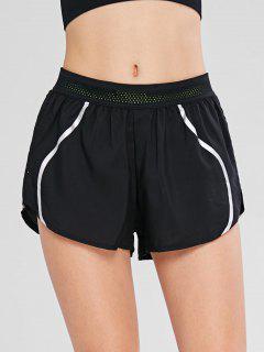 Pantalones Cortos Deportivos Con Diseño De Bolsillo Con Diseño Reflectante - Negro L