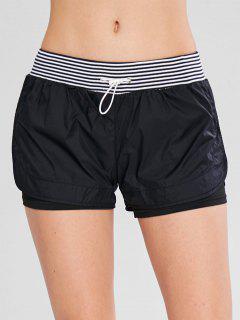 Striped Drawstring Overlay Sport Shorts - Black M