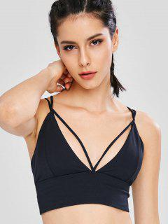 Strappy Criss Cross Sport Bra - Black L