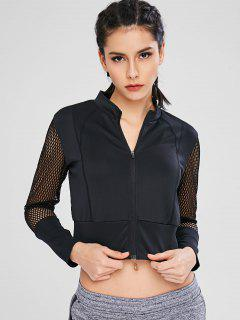 Hollow Out Crop Zipper Jacket - Black M
