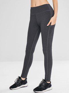 Heather Side Pockets Active Leggings - Dark Gray Xl
