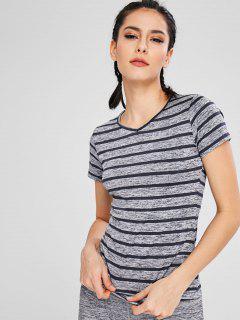 Striped V Neck T-shirt - Gray M