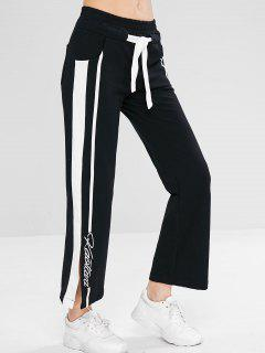 Drawstring Contrast Slit Sweatpants - Black L