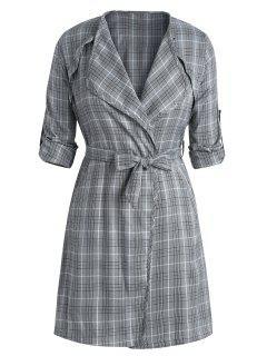 Plus Size Side Slit Plaid Belted Coat - Black 3x