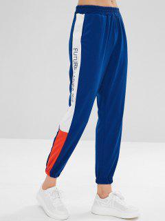Contrast Letter Print Gym Jogger Pants - Blue L
