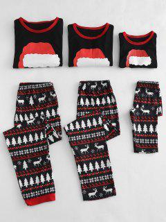 Christmas Hat Printed Family Pajamas Sets - Black Kid  5t