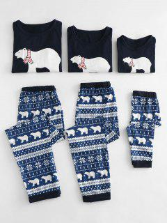 Polar Bear Printed Christmas Family Pajamas Sets - Blue Kid  5t