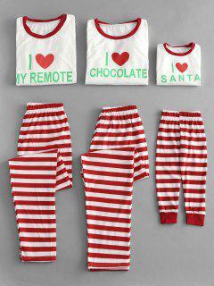 Pijamas De Letras Y Rayas De Navidad Para Familia. - Rojo Kidd Tht