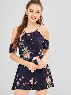 Elastic Waist Printed Cold Shoulder Romper - Cadetblue S