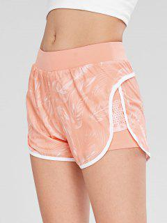 Palm Perforated Insert Layered Sport Shorts - Pink M