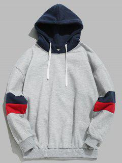 Drawstring Splicing Color Block Hoodie - Light Gray Xs