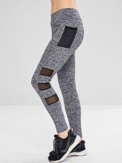 Heather Mesh Pocket Leggings - Gray L