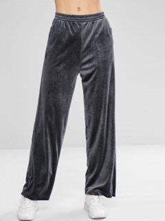 Velvet Wide Leg Sport Sweatpants - Gray M