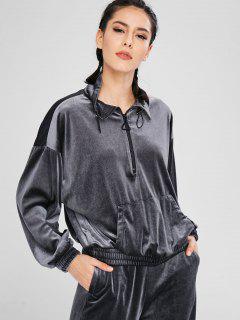 Athletic Velvet Half Zip Sweatshirt - Gray M