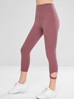 High Waisted Cut Out Crop Leggings - Lipstick Pink M
