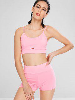 Keyhole Bralette Bra And Shorts - Pink L
