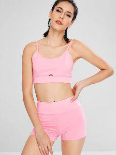 Keyhole Bralette Bra And Shorts - Pink Xl