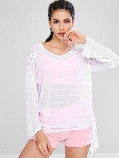V Neck Raglan Sleeve Tie Side T-shirt - White L