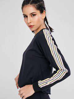 Colorful Striped Drop Shoulder T-shirt - Black M