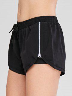 Drawstring Zipper Overlay Sport Shorts - Black M
