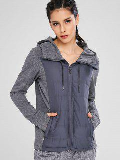 Color Block Hooded Sport Jacket - Gray L