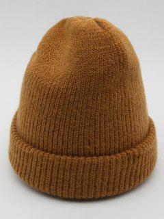 Solid Color Flanging Ski Beanie - Oak Brown