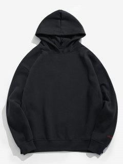 Double Collar Solid Fleece Hoodie - Black L
