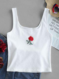 Rose Embroidery Ribbed Tank Top - White S