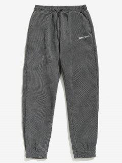 Pantalon En Couleur Unie à Pieds Etroits En Velours Côtelé - Gris S