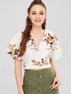 Flower Print Open Back Blouse - White M