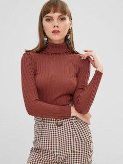 Ribbed Turtleneck Basic Layering Sweater - Chestnut