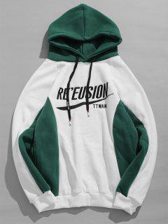 Letter Printed Contract Color Pullover Hoodie - White M