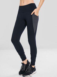 Side Pocket Color Block Leggings - Black L