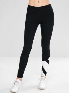 Color Block Skinny Sport Leggings - White L