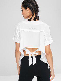 Polka Dot T-Shirt Zum Binden - Weiß L