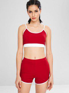 Color Block Bralette Shorts Set - Red L
