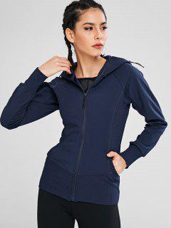 Zipper Hooded Pocket Jacket - Cadetblue M