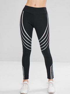 Striped Reflective Design Leggings - Black Xl