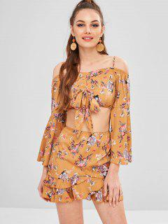 Flare Sleeves Floral Smocked Top With Skirt Set - Yellow M