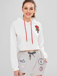 Rose Embroidery Short Hoodie - White Xl
