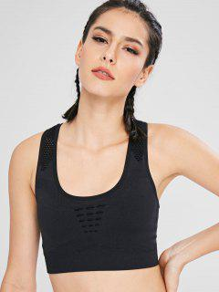 Perforated Racerback Active Bra - Black L