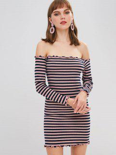 Off Shoulder Lettuce Hem Stripe Jumper Dress - Lipstick Pink S