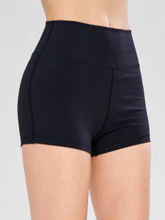 High Waisted Skinny Sport Shorts - Black Xl
